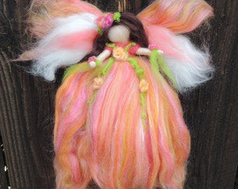 Wool Angel - Needle felted Peach Fairy with yellow and bright mix of pinks and bright green Steiner Waldorf inspired  By Rebecca Varon