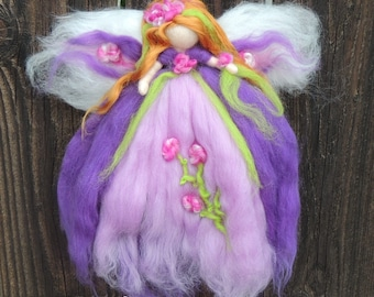 Wool Angel - Needle felted Purple plum Fairy with fuschia, pink and and bright green Steiner Waldorf inspired  By Rebecca Varon