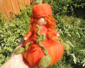Pumpkin Girl - Waldorf Inspired Needle Felted Doll, Gift, Present, Autumn, Fall Standing Soft Sculpture Collectible