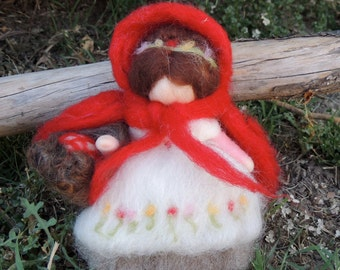 Needle Felted Wool Fairy - Red Cap - Red Riding Hood- standing doll with remove-able cape- fairytale-created by Rebecca Varon