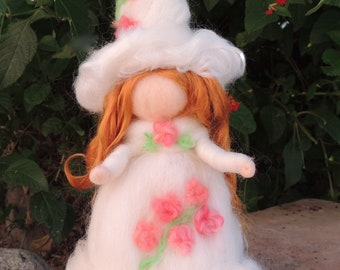 Halloween White Witch - Needle felted wool soft sculpture art doll - Waldorf Inspired by Rebecca Varon