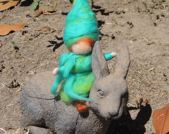 Turquoise Elf and green- This boy gnome Waldorf Inspired Needle Felted Wool Soft Sculpture - gnome Medium