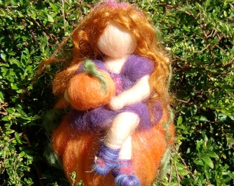 Elf atop a Pumpkin - needle felted fairy child  - Waldorf Inspired Needle Felted Soft Sculpture