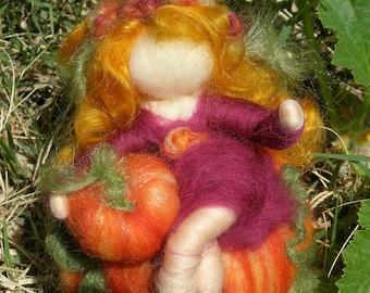 Autumn Pumpkin Sprite - Waldorf Inspired Needle Felted Wool Soft Sculpture - fairy  Medium