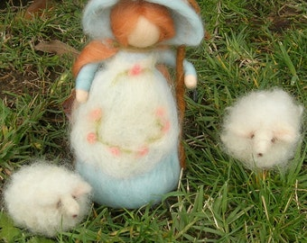 Baby Blue Little Bo Peep Set Waldorf inspired  By Rebecca Varon - made to order