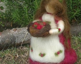 Cranberry Fairy Maiden - Waldorf Inspired wool needle felted standing doll for Autumn and Christmas