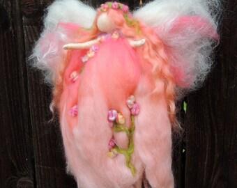 Peach Delight Garden Fairy-  Needle felted wool fairy angel Waldorf inspired creation by Rebecca Varon aka Nushkie