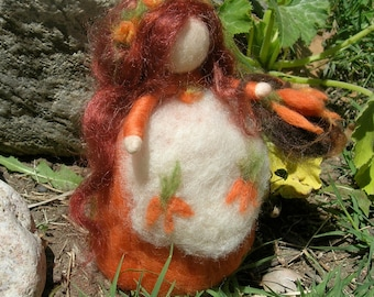 Needle Felted Wool Doll -Sweet Petite Carrot Harvest Fairy Maiden with Basket -Waldorf Inspired