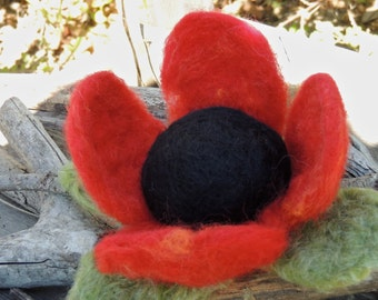 Pin Cushion - Needle Felted Wool Red Poppy Pin Cushion Red and Black by Rebecca Varon