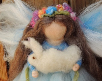 Ethereal Blue Garden Fariy with bunnies-  Needle felted fairy angel Waldorf inspired creation by Rebecca Varon aka Nushkie