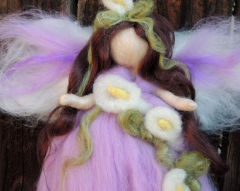 Wool Angel - Needle felted Lavender Calla Lily Fairy Steiner Waldorf inspired  By Rebecca Varon