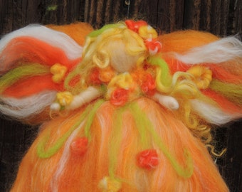 Wool Angel - Needle felted Citrus Yellow and Orange Fairy with  dark pink and and bright green Steiner Waldorf inspired  By Rebecca Varon