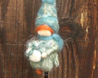 Ornament - Present Elf- Teale Waldorf Inspired Needle Felted bendy gnome