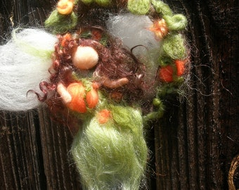 Mobile or Wreath Autumn Fairy and Pumpkins-  Made to Order Needle felted wool angel Waldorf inspired by Rebecca Varon