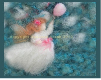 """Printed Note Card - """"Girl in Pursuit"""" -image from wool painting  Waldorf inspired greeting card"""