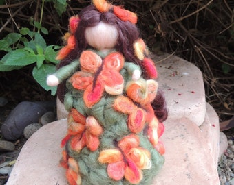 Thanksgiving Wool Forest Autumn Maiden- Needle felted - Waldorf Inspired by Rebecca Varon