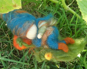 Gnome Napping in a Wee Pumpkin Patch - Waldorf inspired wool needle felted autumn custom made by Rebecca Varon
