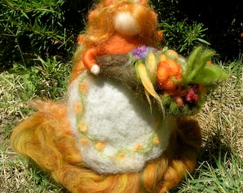 Needle Felted Art Doll Harvest Fairy Maiden with Cornucopia Thanksgiving Waldorf inspired wool autumn standing doll