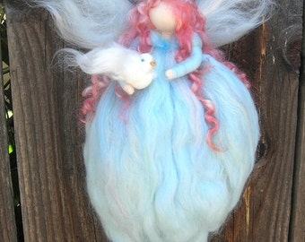 Peace Blessing Fairy Needle felted wool fairy angel Waldorf inspired with Dove, gift, holiday
