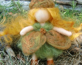 Acorn Pixie Fairy- Waldorf Inspired Needle Felted Soft Sculpture - bendy - Blonde