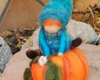 Elf Jumps over a Pumpkin - Waldorf Inspired Needle Felted Wool Soft Sculpture - gnome Medium