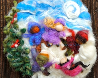 "Art - ""Children Dancing under the Winter Moon""- Needle Felted Wall hanging / sculptural wool painting Waldorf inspired"
