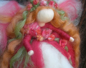 Wool Angel - Ethereal Garden Fairy - Wool needle felted fairy or wall hanging, mobile- Inspired by Waldorf- by Rebecca Varon, angel-gift
