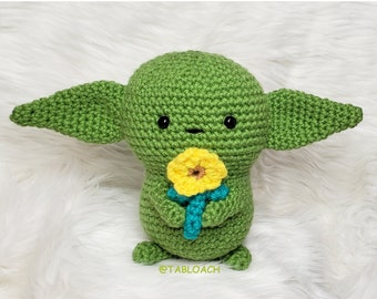 Baby Alien Plush Doll   Crochet Baby Alien   Amigurumi Crochet Baby Alien Doll   The Child Plush doll Flower