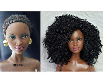 TABLOACH Custom WIG for your African-American Black Barbie or Fashion Royalty doll 6133