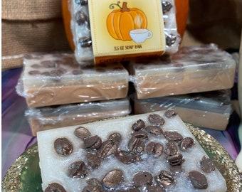 Pumpkin Chai Latte Goat's Milk Bath Bar With Soap Coffee Beans 3.5 oz   Autumn Soap   Fall Gift   Coffee Soap   Pumpkin Spice   Aromatherapy