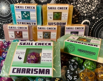 Skill Check Soap- CHARISMA- with D20 - 3.5 oz    Geek Gift   Gamer   DND   RPG   Coconut Lime and Mango Tangerine