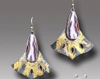 Purple Passion Agate Earrings  Sterling Silver 24 k Gold Earrings Dangle Keum Boo