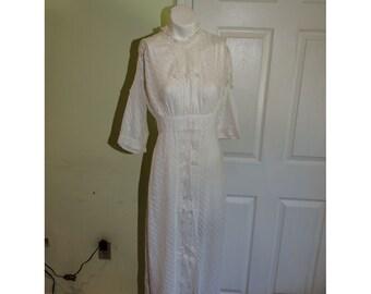 SALE Antique Edwardian White Cotton Tea Dress with lace and Pom Poms
