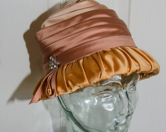 Vintage 1960's Flapper Style Floral and Mesh Woman's Cloche Hat
