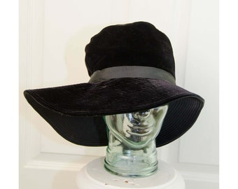 137f1137129 Vintage 1940 s Woman s Black Velvet Asymmetrical Brim Floppy Hat