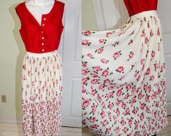 dd1aafda1f3 Vintage 1950s Koret of California Rose Print Pleated Skirt