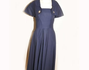 SALE Vintage 1950's Navy Blue Dress with Capelette