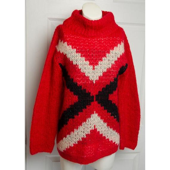 Vintage 1960's Koret of California Red Knit Mock T
