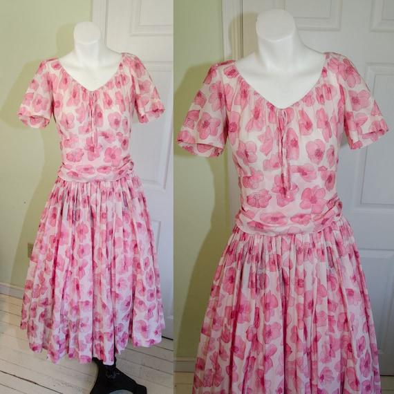 1950's Designer Pat Premo Pink Floral Peasant Dres