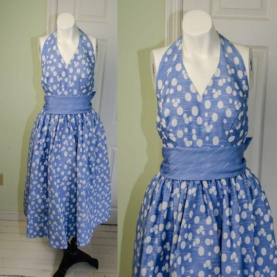 1950s Designer Pat Premo Blue Polka Dot Halter Dre
