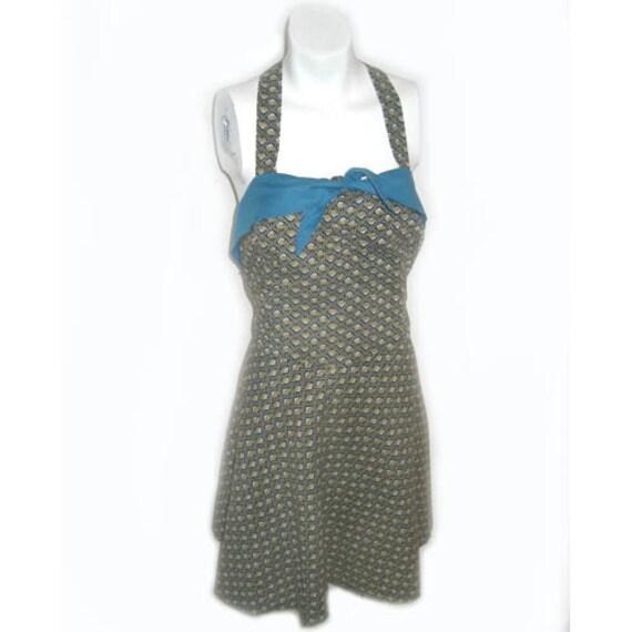 Vintage 1940s Cotton Print Bathing Suit Romper La… - image 2