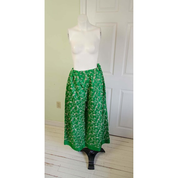 Vintage 1970's Wide Leg Bright Green Ethnic Floral