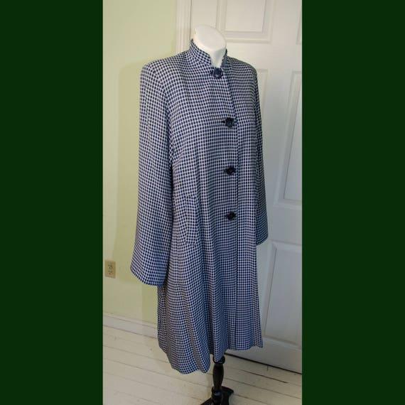 Vintage 1940's Blue & White Checkered Asian Style