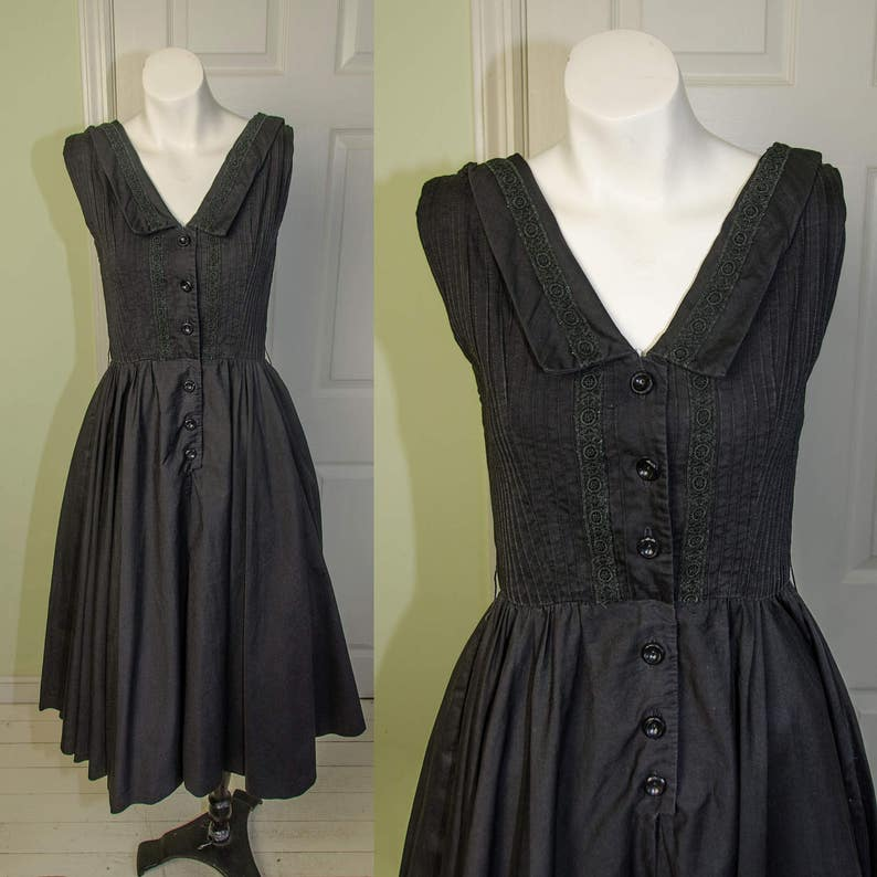 2f7ff1579411 Vintage 1950s Saks Fifth Avenue Black Cotton Swing Dress | Etsy