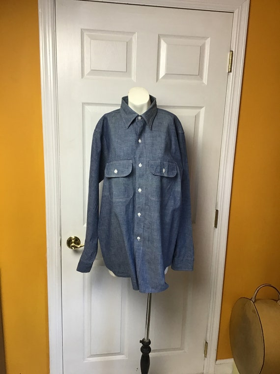 Vintage 1950's Men's Denim Work Shirt