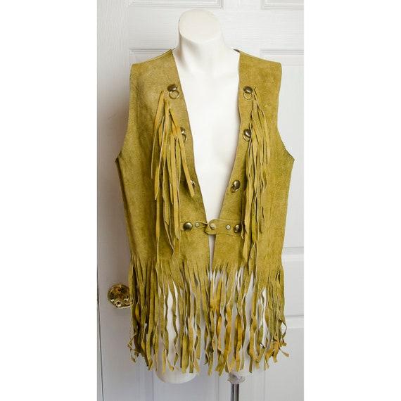 Vintage 60s Custom Leather Vest  1960s Suwanee Leathers Fitted Hippie Vest