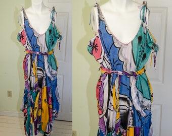 Vintage 1980s Handpainted Mexican Dropwaist Sun Dress with Belt