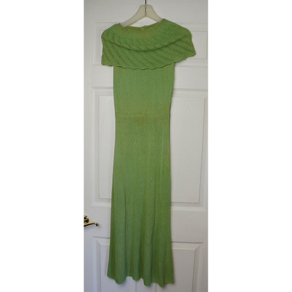 Rare Vintage 1920's Green Knit Sleeveless Dress wi