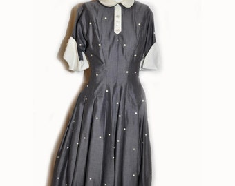Vintage 1950's Grey and White Polka Dot Lucy Style DayDress B32 W24