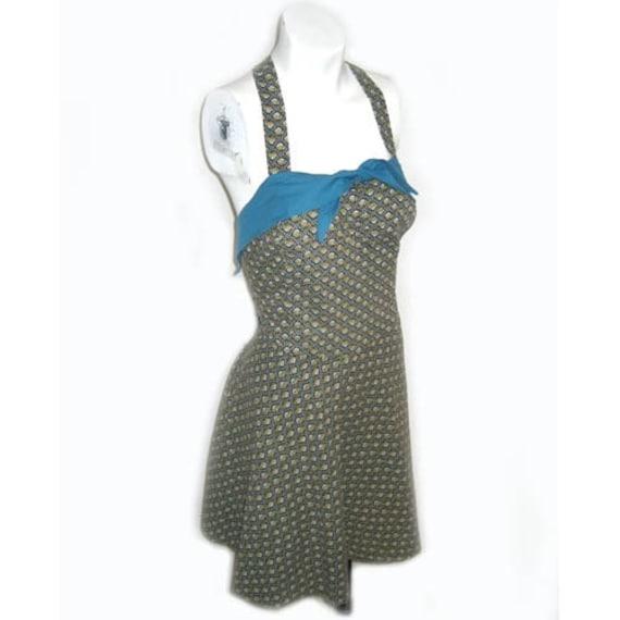 Vintage 1940s Cotton Print Bathing Suit Romper Lar